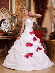 Quinceanera Dress White Bowknots Sweetheart Taffeta