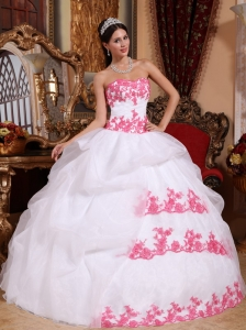 White Quinceanera Dress Pink Appliques Sweetheart Organza