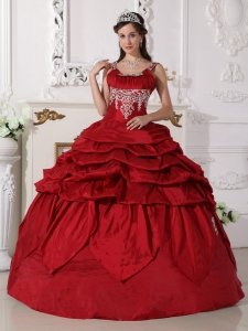 Scoop Taffeta Quinceanera Dress Wine Red Beading Ball Gown