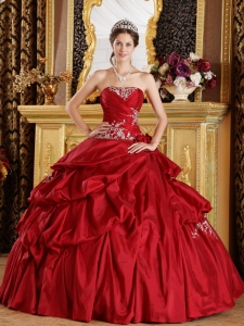 Red Appliques Ruching Quinceanera Ball Gown for Sweet 16