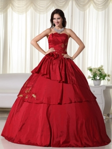 Hand Flowers Quinceanera Dress Wine Red Taffeta Strapless