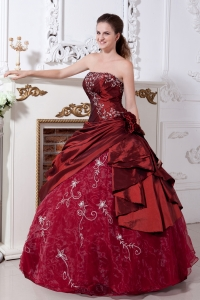 Taffeta Organza Quinces Dress Wine Red Ball Gown Embroidery