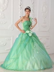 Apple Green Ball Gown One Shoulder Beading Dress for Quinceanera