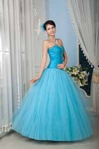 Princess Sweetheart Quinceanera Dress Aqua Tulle Beading Corset