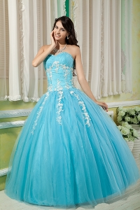 Aqua Sweetheart Tulle Appliques Quinces Dress for Sweet 16