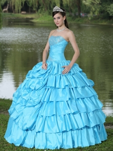 Aqua Blue 16th Birthday Dress Beaded Taffeta Strapless Layers