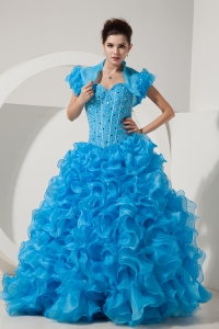Baby Blue Quinces Dress Ruffles Beading Sweetheart Organza