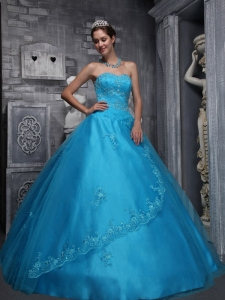 Blue Quinceanera Dresses Sweetheart Beading and Appliques
