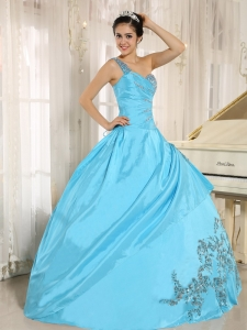 Sweet Sixteenth Dress One Shoulder Baby Blue Appliques Beading