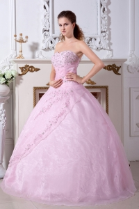 Organza Sweet 16th Dresses Baby Pink Sweetheart Embroidery