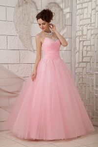 Spring Baby Pink Straps Tulle Beading Quinceanea Dress