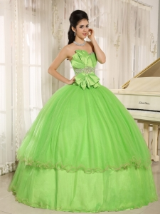 Quinceanera Dresses Spring Green Beading Bowknot Ball Gown