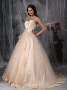 Embroidery Wedding Dress Princess Sweetheart Brush Train Tulle
