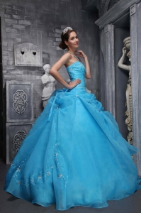 Strapless Taffeta and Organza Appliques Baby Blue Quinces Dress