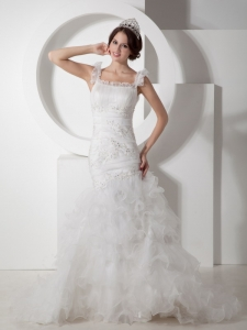 Mermaid Straps Court Train Organza Appliques Wedding Dress