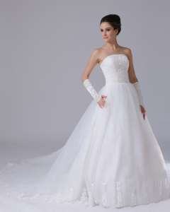 Lace Strapless Organza Chapel Train Wedding Ball Gowns