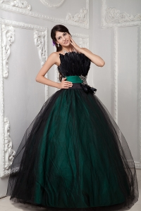 Beading and Feather Quinceanera Gowns Black Tulle over Skirt