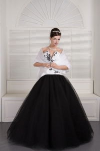 Black and White V-neck Sweet 16 Dresses Tulle Embroidery