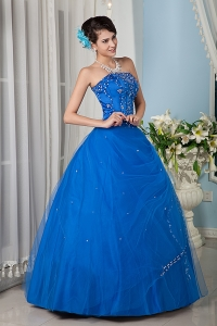Princess Quinceanera Gowns Royal Blue Strapless Tulle Beading