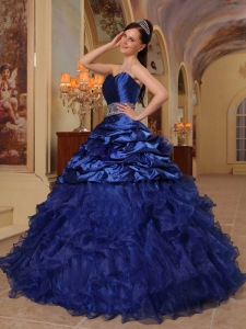 Ball Gown Quinces Dress Royal Blue Sweetheart Organza Taffeta