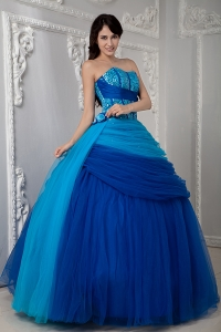 Two-tones Sweetheart Tulle Ruch Princesita Quinceanea Dress