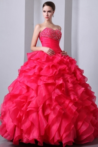 Organza Ruffles Quinceanea Dress Coral Red Sweetheart Beading