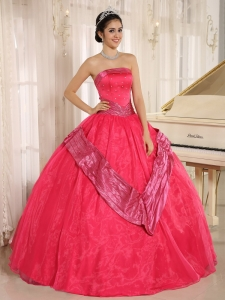15th Birthday Dress Strapless Belt Coral Red Beaded Ball Gown