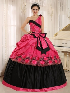 Bowknot Appliques Quinceanera Dress Hot Pink Black One Shoulder