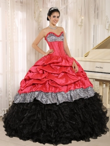 Coral red Black Quinceanera Dress Sweetheart Ruffles Leopard