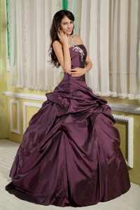 Appliques Ball Gown Quinces Dress Dark Purple Strapless Taffeta