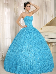 Embroidery Special Fabric Sweetheart Baby Blue Quinceanera Dress