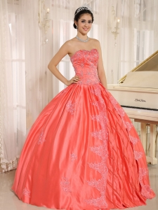 Embroidery Beading Watermelon Sweetheart Quinceanera Dress