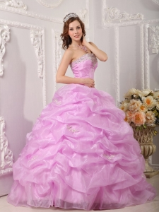 Organza Appliques Lilac Quinceanera Dress Strapless Pick-ups