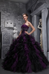 Organza Appliques Ruffles Dark Purple and Black Quinces Dress