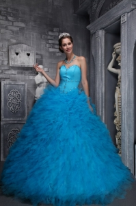 Exclusive Organza Ruffled Beading Baby Blue Quinceanera Dress