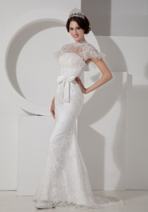 High-neck Brush Train Satin Lace and Sash Wedding Dress