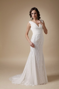 Fashionable Bridal Dress V-neck Brush Train Chiffon and Lace