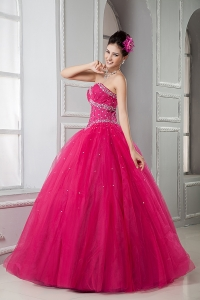 Fuchsia Quinces Gowns Sweetheart Floor-length Tulle Beading
