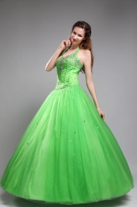 Classy Spring Green Halter Tulle Beading Quinceanera Dress