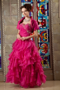 Hot Pink Cascading Ruffles Beading Quinces Dress with Jacket