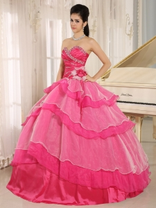 Ruffled Layers Quince Dress Hot Pink Sweetheart Ruch Beaded