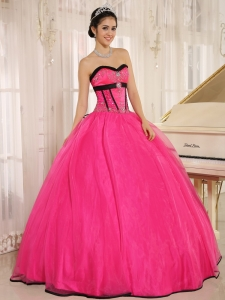Discount Hot Pink Sweetheart Qunceanera Dress Beaded Oganza