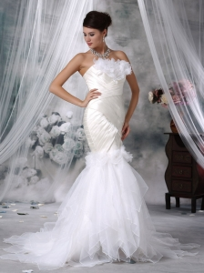 Organza Handle Flowers Wedding Dress Ivory Trumpet Court Train