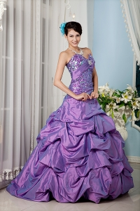 Lavender Sweetheart Pick-ups Taffeta Colorful Sequins Quinces Dress