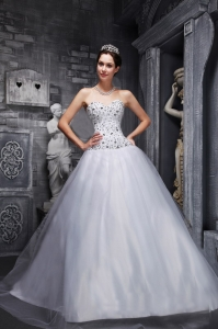 Taffeta Tulle Quinces Dress Sweetheart Beading White Princess