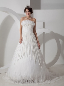 Unique Appliques Beaded Wedding Dress Strapless Court Train