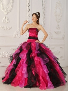 Multi-color Strapless Appliques Ruffles Quinceanera Gowns