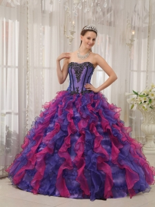 Multi-colored Cascading Ruffles Organza Appliques Quinces Dress