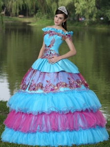 Tiered Quinceanera Dress Ball Gown Off The Shoulder Appliques