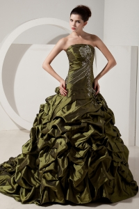 Olive Green Prom Dress Strapless Brush Tain Taffeta Beading